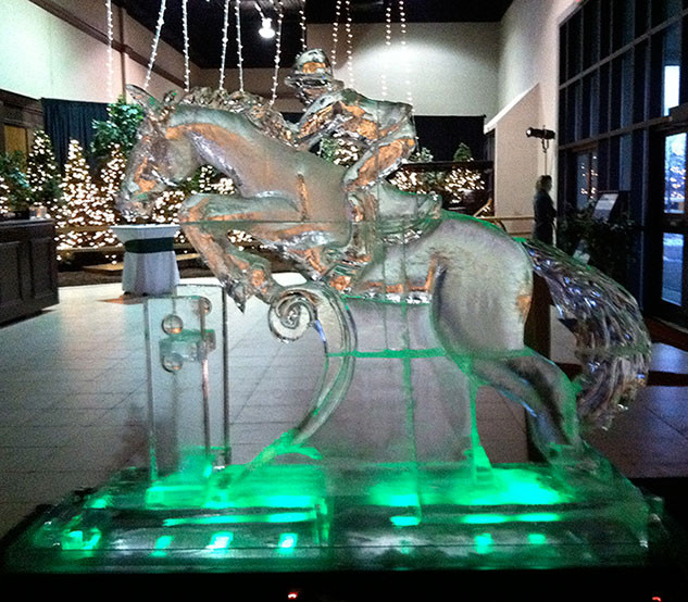 Jumping Horse Ice Sculpture