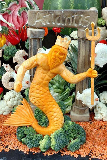 King Neptune Fruit Carving