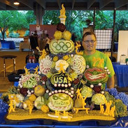 Olympics Fruit Carving Display