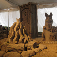 Sand Sculpture Donkey and Fire