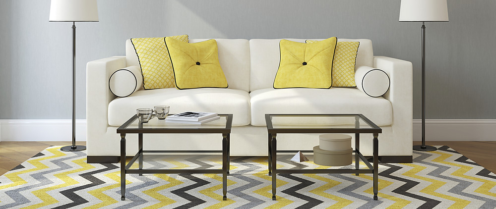 bright yellow living room concept