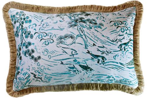Kasumi Jade Fringed Lumbar Pillow