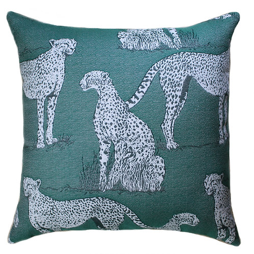 Savannah Cat Green Throw Pillow