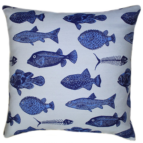 Pesce Blue Throw Pillow