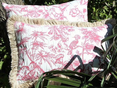 Tropical Toile Pink 13x20 with Fringe