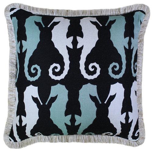Sea Horse Folly Fringed Throw Pillow