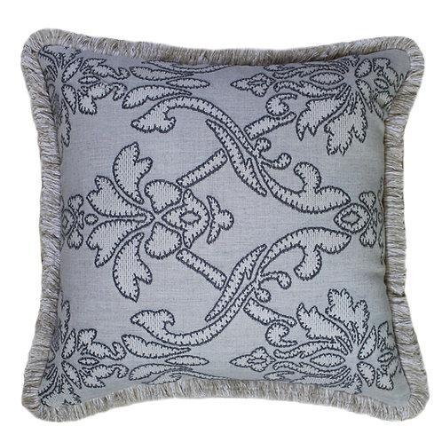 Applique Stone Fringed Throw Pillow