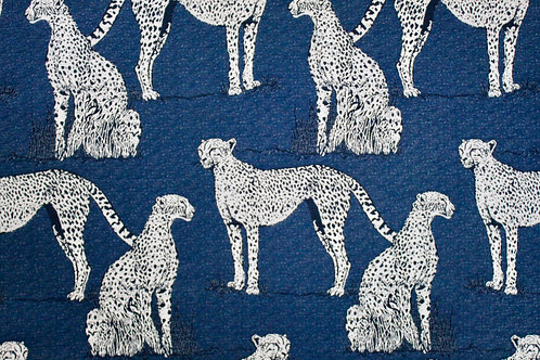 Savanna Cat Indigo Sunbrella Fabric
