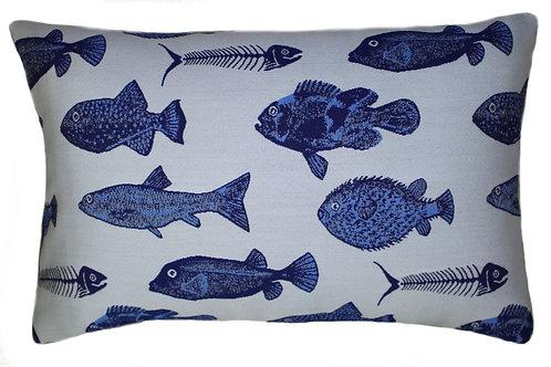 Pesce Blue Lumbar Pillow