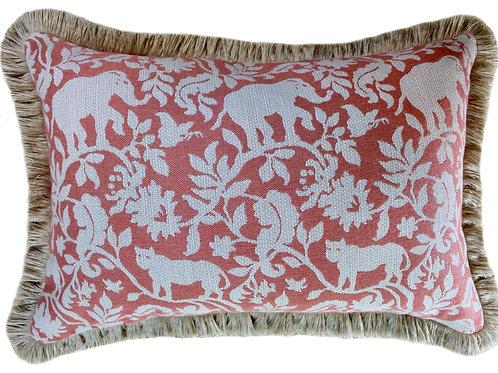Bengali Apricot Fringed Lumbar Pillow