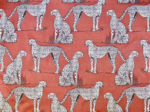 Savanna Cat Red Fabric