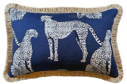 Savanna Cat Indigo Fringed Lumbar Pillow