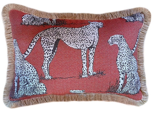 Savannah Cat Crimson Fringed Lumbar