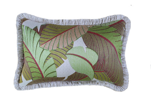 Key West Palm Fringed Lumbar Pillow