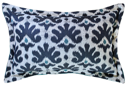 Impala Indigo Flanged Lumbar Pillow