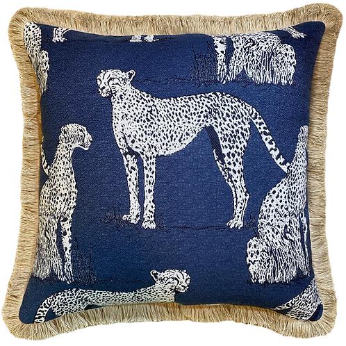 Savanna Cat indigo Fringed Throw Pillow