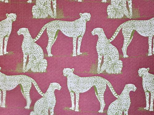 Savanna Cat Raspberry Sunbrella Fabric
