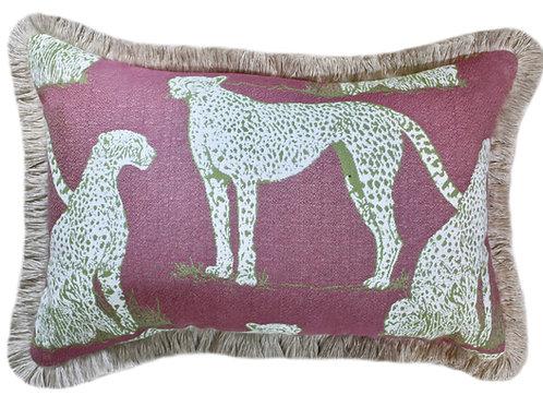 Savanna Cat Raspberry Fringed Lumbar Pillow