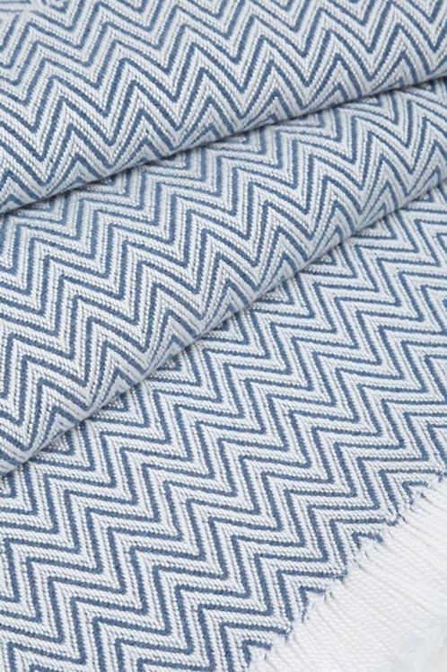 Cornflower Blue Zig-Zag Sunbrella Throw