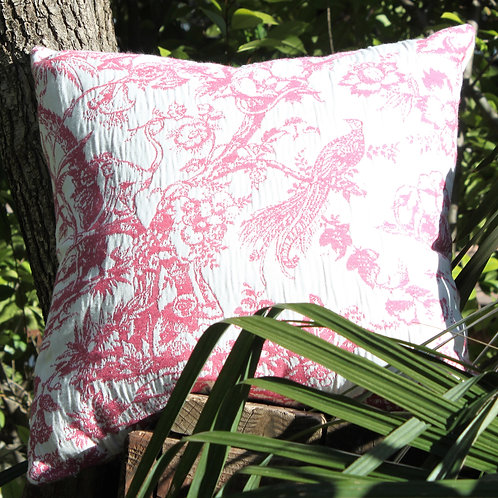 Tropical Toile Pink 20x20