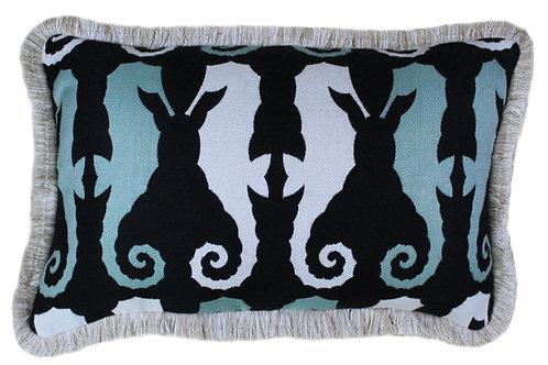 Sea Horse Folly Fringed Lumbar Pillow