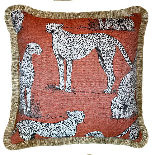 Savanna Cat Crimson Fringed Throw