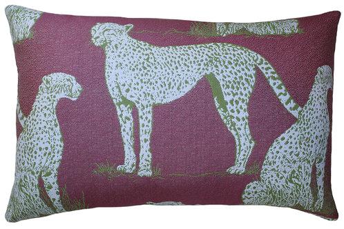 Savanna Cat Raspberry Lumbar Pillow