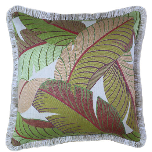 Key West Palm Fringed Throw Pillow