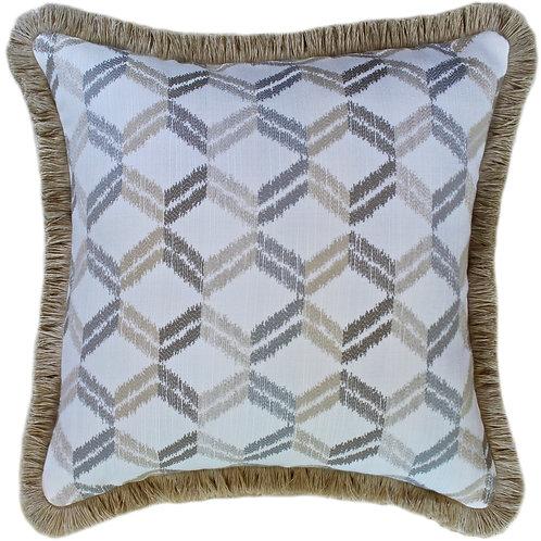 Zig-Zag Sand Fringed Throw Pillow