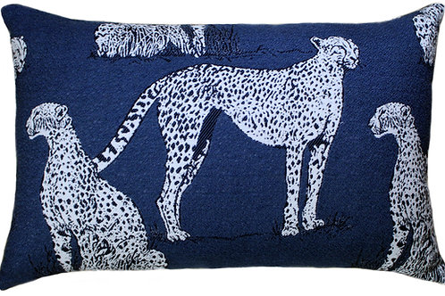 Savannah Cat Indigo Lumbar Pillow
