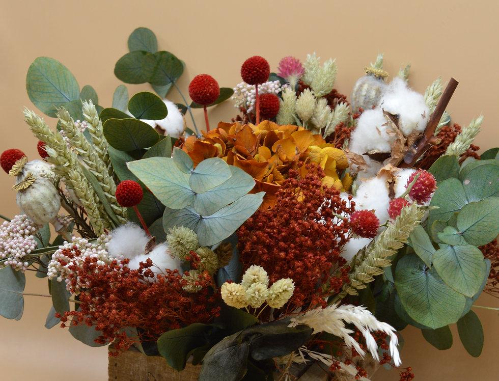 caja con flor preservada invierno