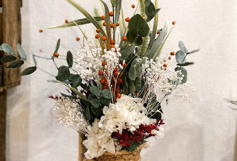 Jarrón ceramica con flores preservadas