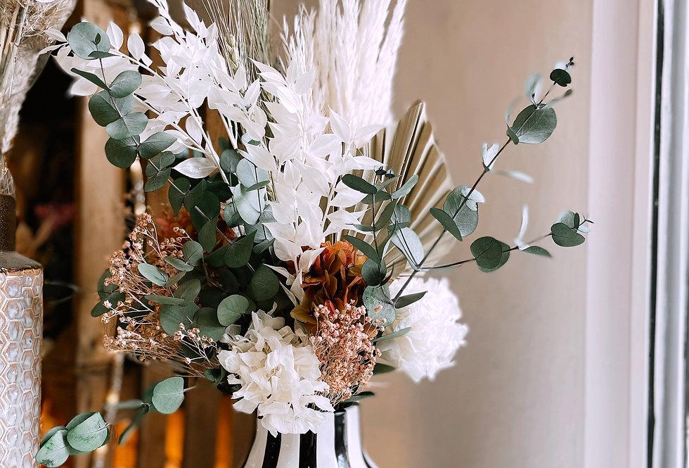 Jarrón cara con flores preservadas