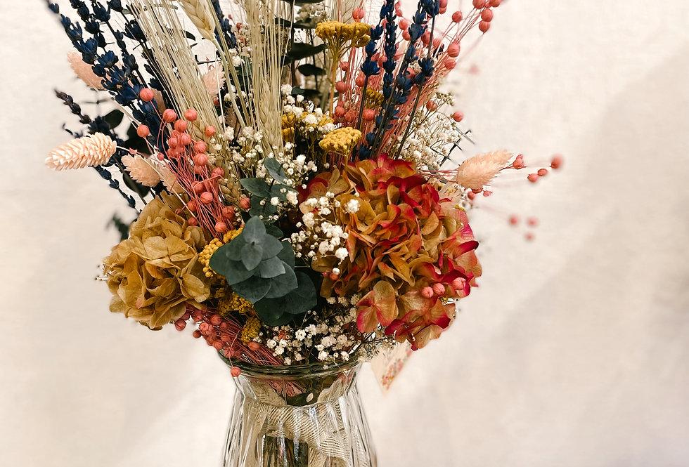 Jarrón cristal con flores preservadas