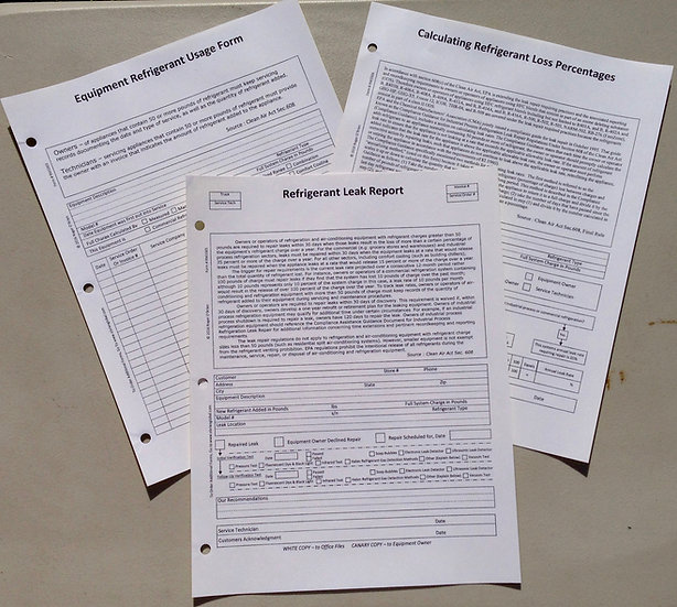 Refrigerant Management Forms, 2 part NCR