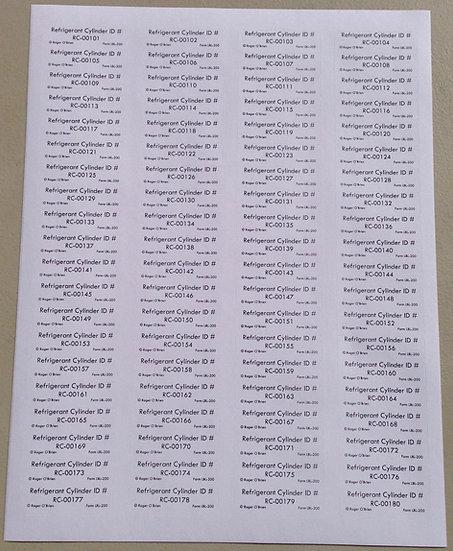 Refrigerant Cylinder ID Labels, #LBL200