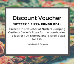 Discount voucher for 2 laps of Tuff Nutterz and a large pizza for $36