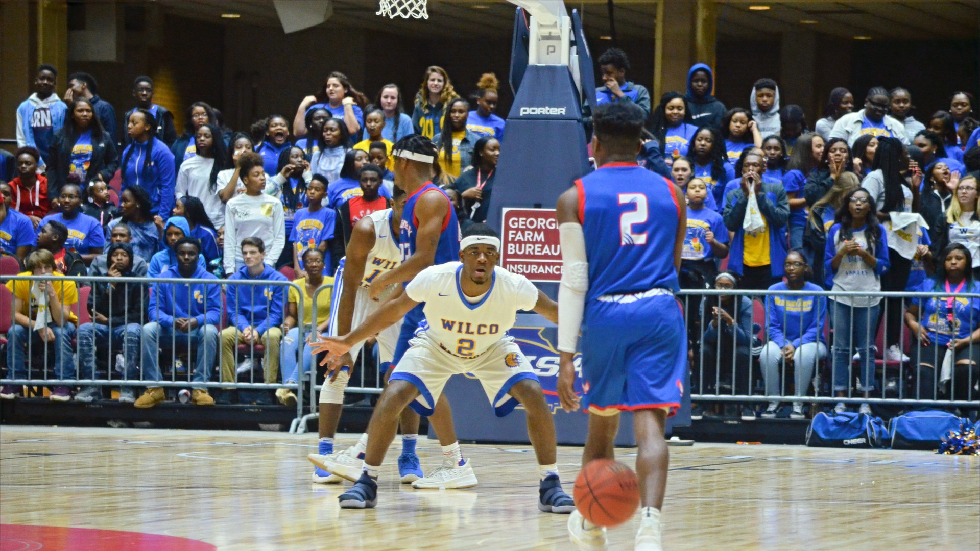 Wilkinson County's Brandon Mays guards Daveaun Coglin, of the Montgomery County Eagles, during the 2018 Class-A Public State Finals at the Macon Coliseum. The Warriors held off a late MoCo rally in the back-and-forth game and hung on to win their third-consecutive state championship, also the program's 10th all-time.