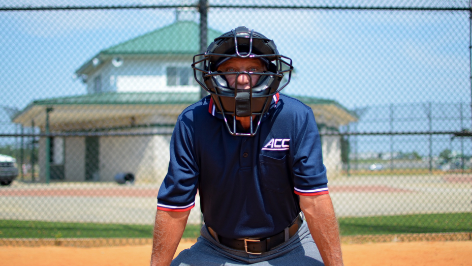 Portrait of Mike Bush on a softball field at Southern Pines Regional Park that accompanied a 2016 profile on the former Laurens County Schools educator, who achieved success as a Division 1 softball umpire after his retirement from the classroom.