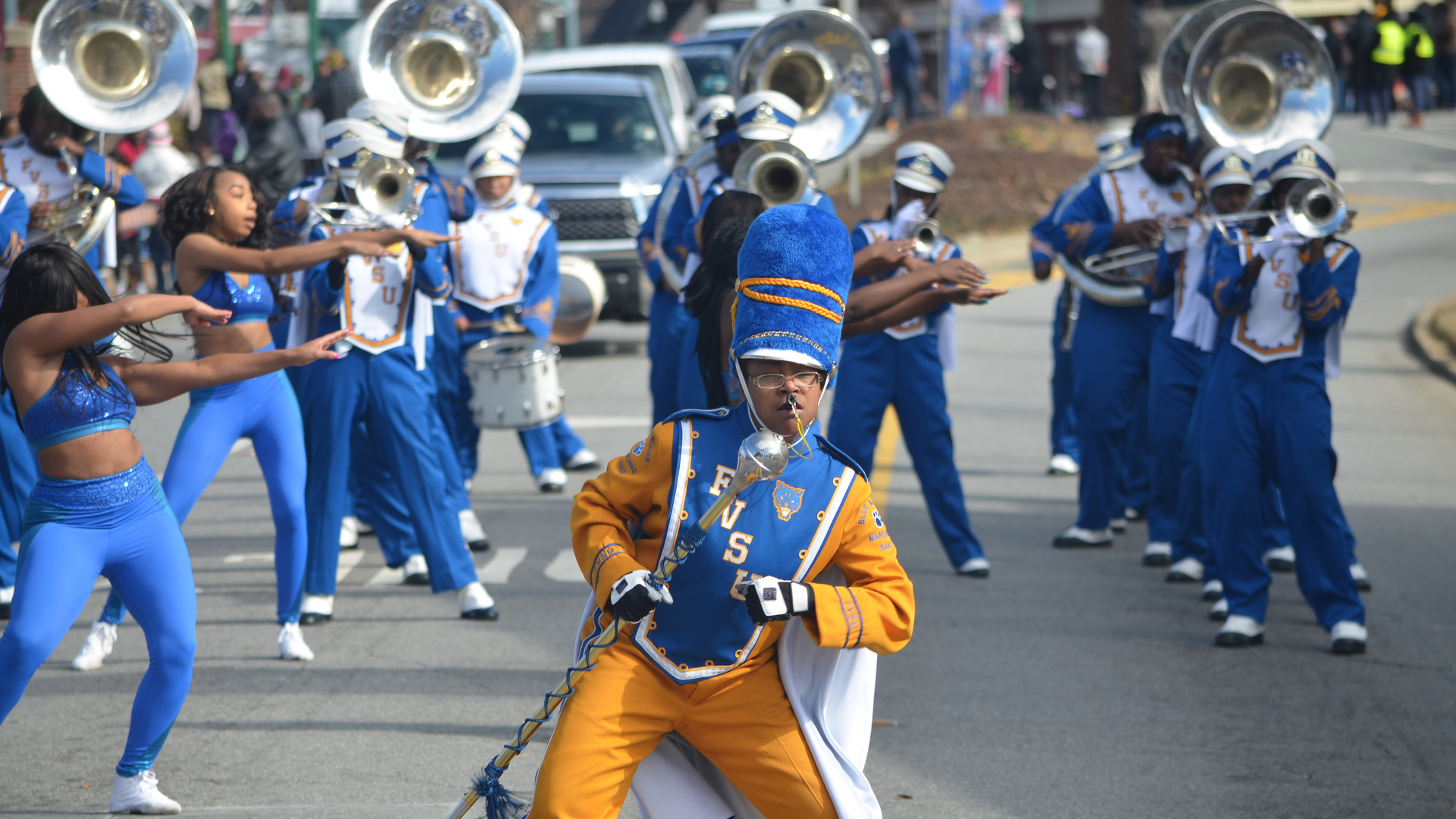 "The Fort Valley State University ""Blue Machine"" performs during the 2018 Martin Luther King Jr. Parade in Dublin."