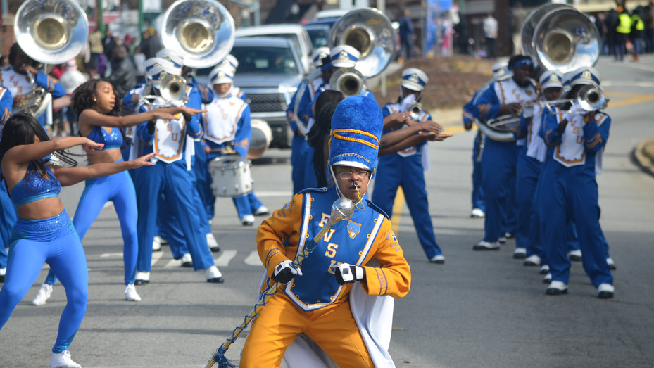 """The Fort Valley State University """"Blue Machine"""" performs during the 2018 Martin Luther King Jr. Parade in Dublin."""