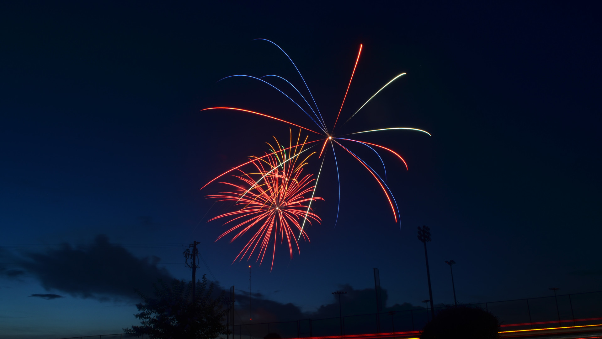 Fireworks are seen from the entrance of Southern Pines Regional Park during 2018 Fourth of July festivities in Dublin.