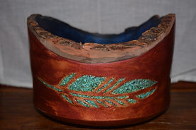 Live Edge Bowl with Turquoise