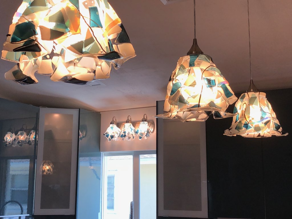 large abstract with pendant lights