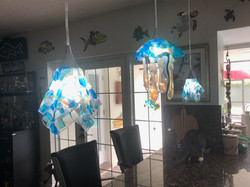abstract jellyfish with pendant lights