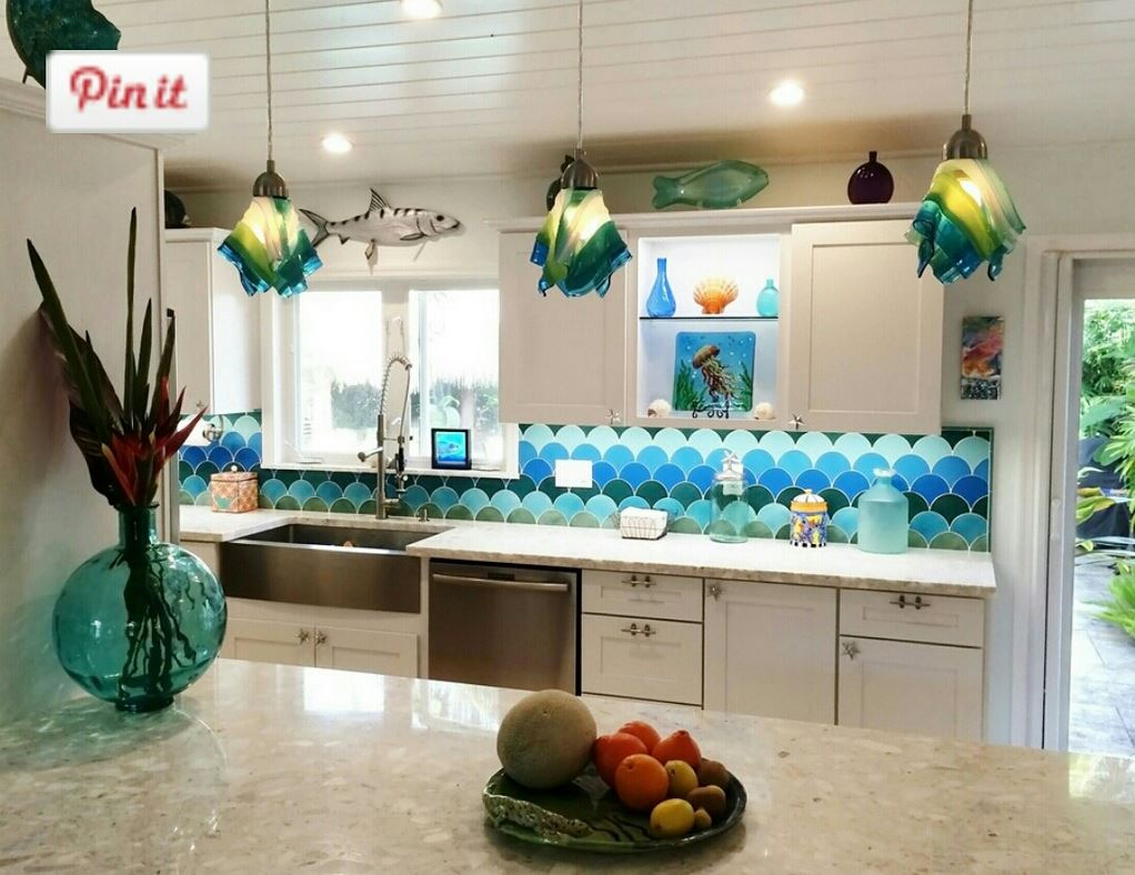 islamorada lights in kitchen with scale backsplash