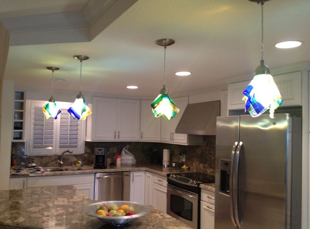 4 pendant lights in kitchen