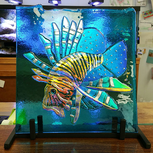 Lionfish on Turquoise 10 by 10