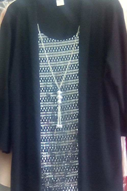Style # 1 Mock 2 pc Black top with metallic silver vest