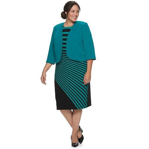 Teal Black 2 Piece Jacket Dress Style 28217